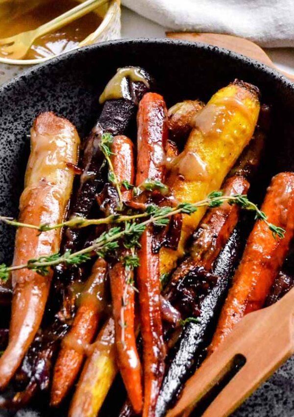 Maple Tahini Glazed Rainbow Carrots