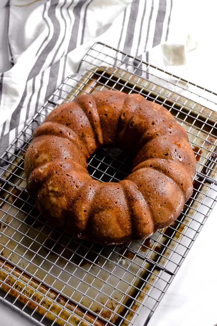 Vegan Spiced Orange Tea Bundt Cake out of pan