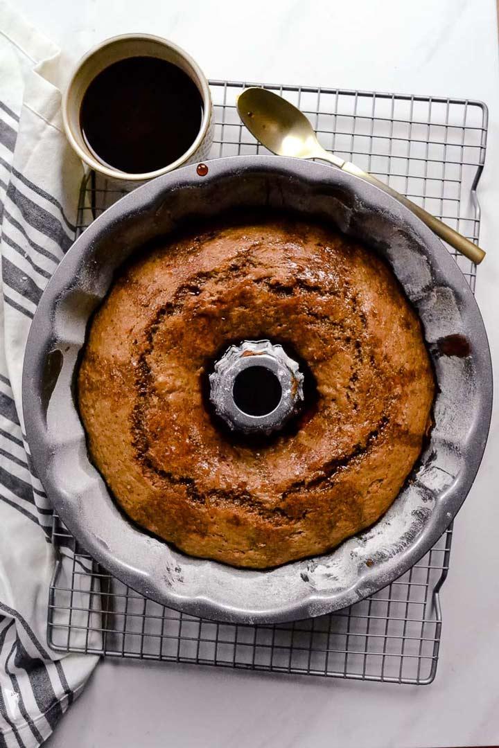 the cake in the bundt pan