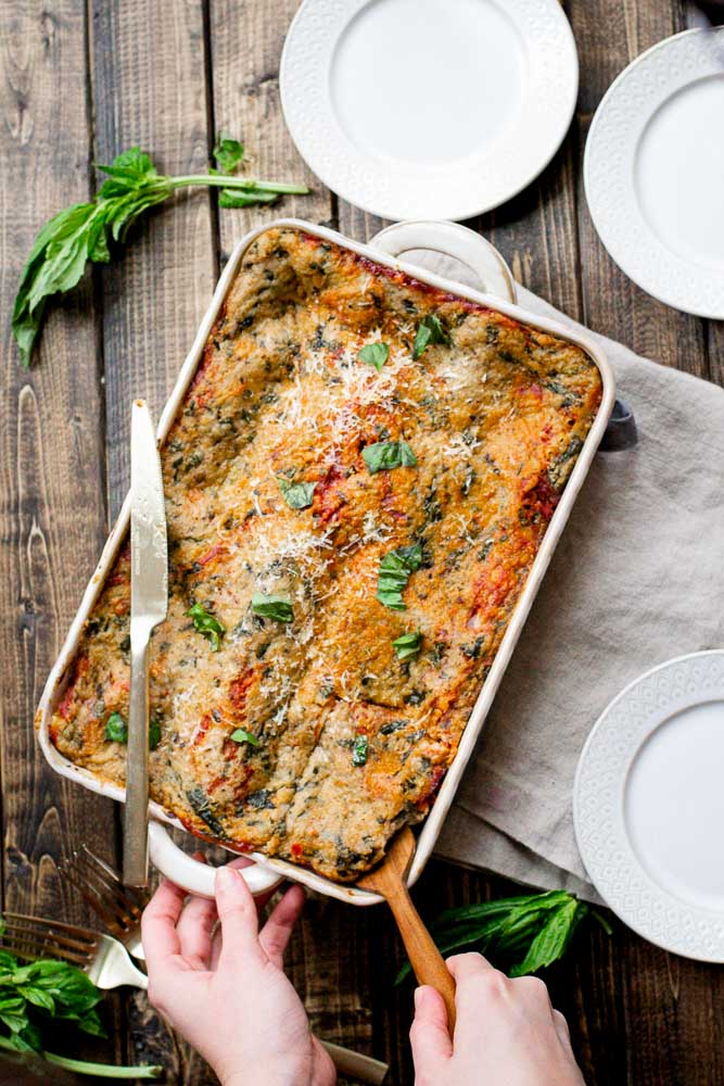 top view of Vegan Basil Bechamel Lasagna
