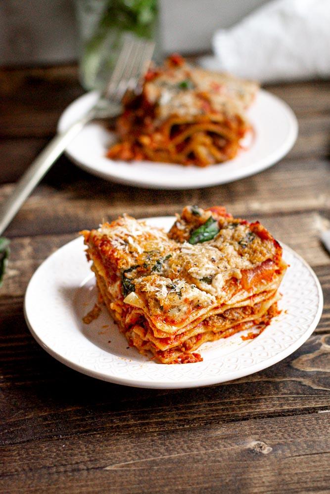 Vegan Basil Bechamel Lasagna on plate