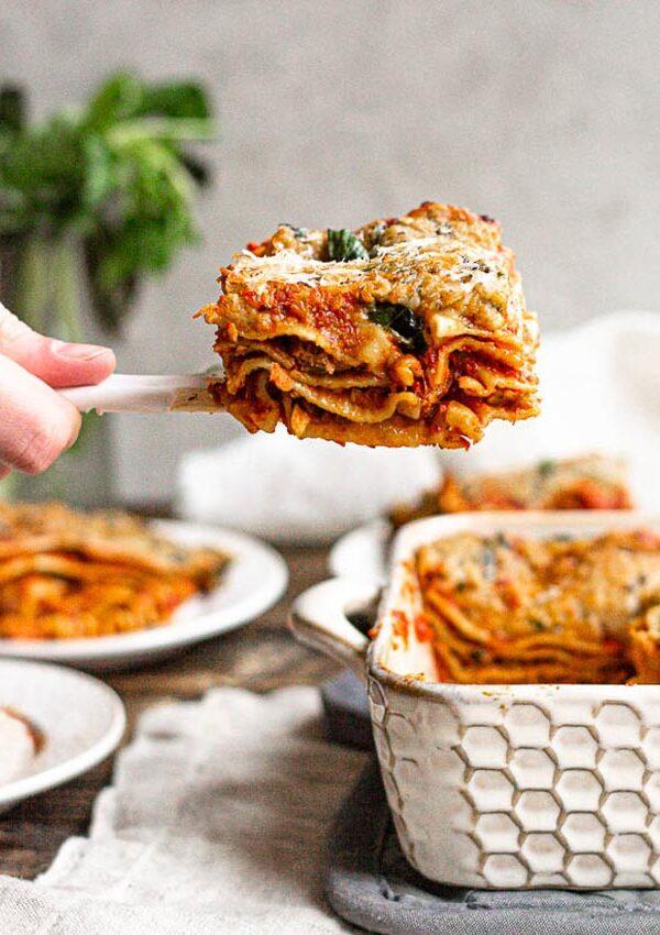 Vegan Basil Bechamel Lasagna