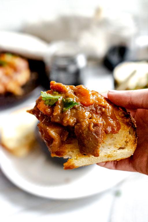vegan bourguignon on sourdough toast
