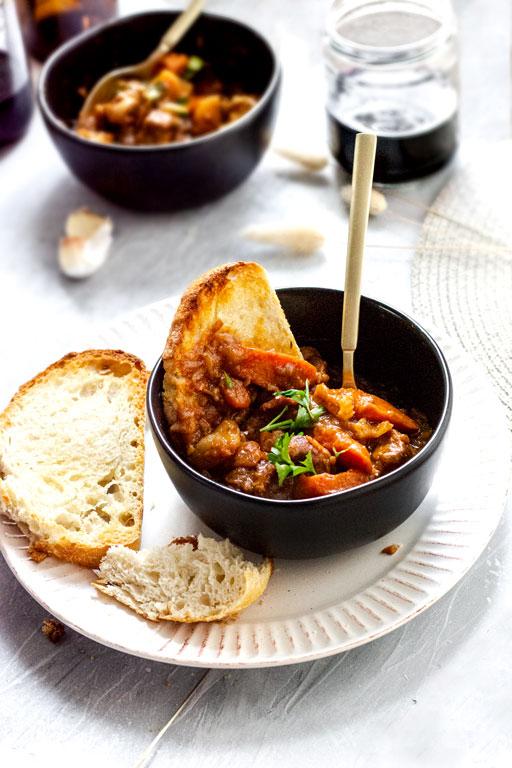 vegan seitan beef bourguignon in bowl
