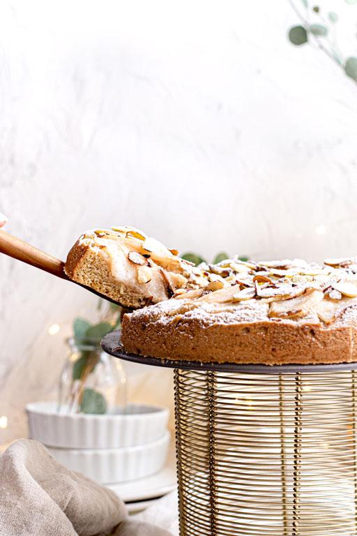 slice of the vegan almond cake