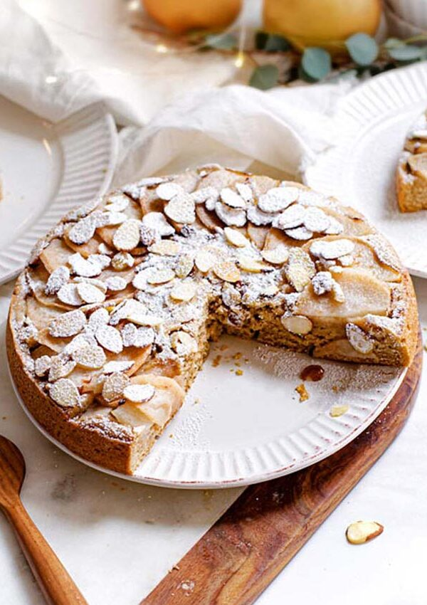 vegan pear almond cake