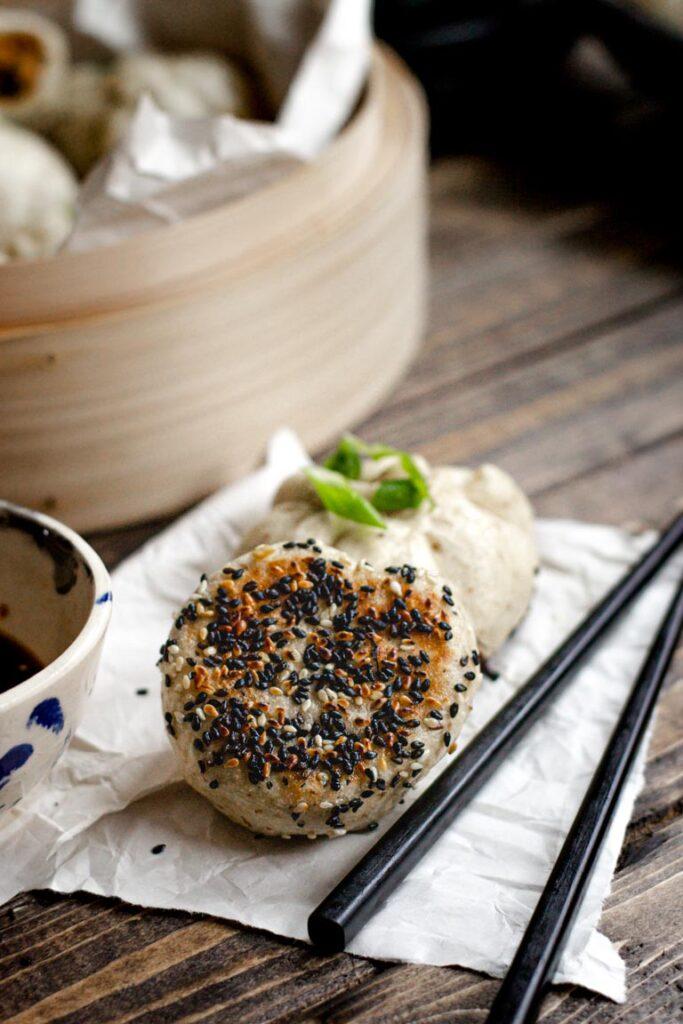 a pan-fried tofu bun
