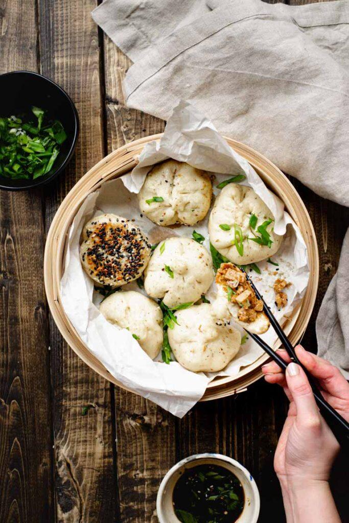 Steamed Vegan Hoisin Tofu Bao top view in steamer basket