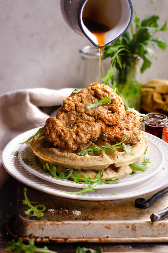 unbelievable vegan chicken and waffles