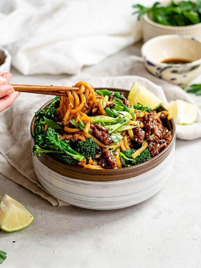 Vegan Sesame Udon Noodles