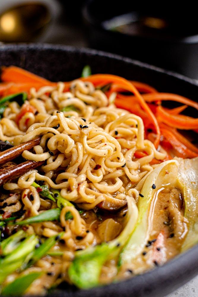 closeup of vegan noodles