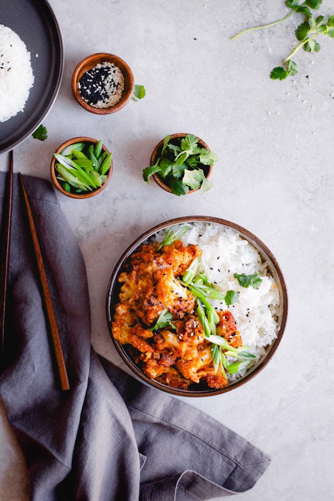 air-fried Korean chili cauliflower