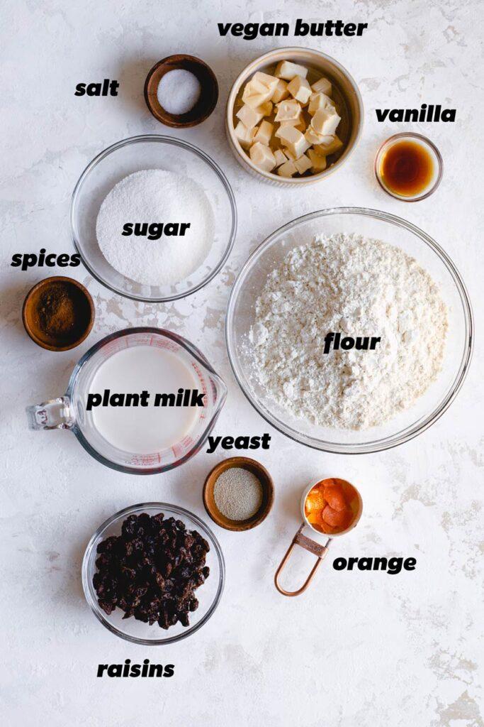 the vegan hot cross bun ingredients