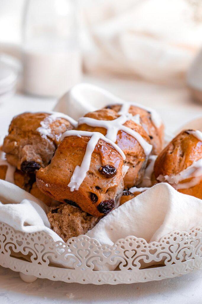 vegan hot cross buns in basket