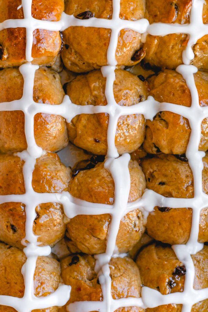 top view of vegan hot cross buns