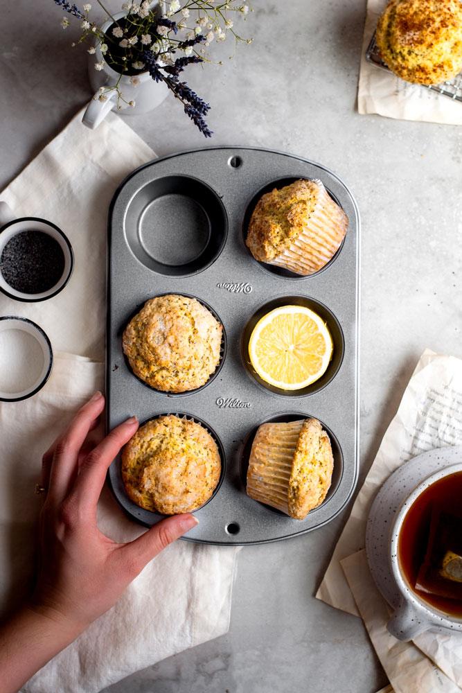 vegan lemon muffins in baking tray