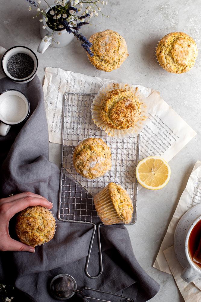 top view of the vegan lemon muffins
