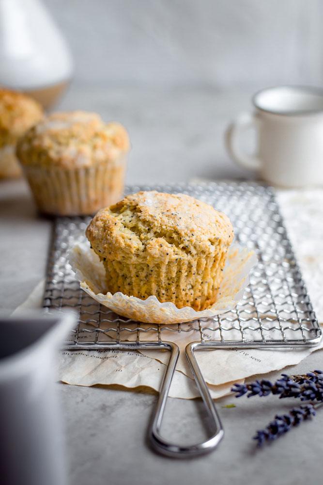 vegan lemon poppy seed muffins on cooling rack
