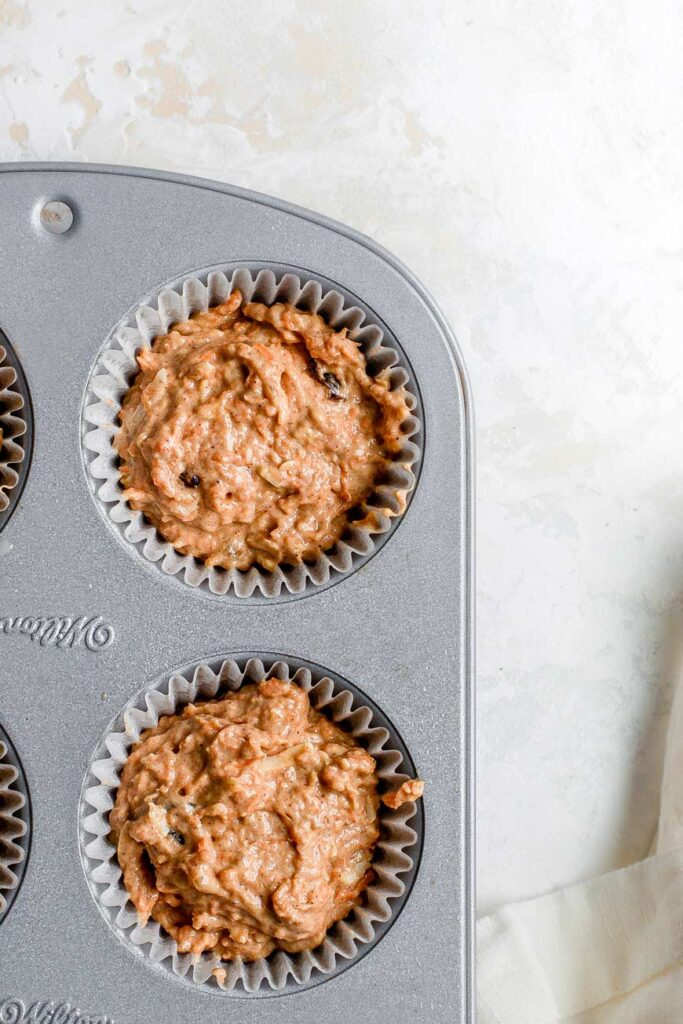 muffin batter in the pan