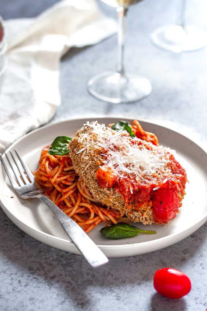 The Best Vegan Chicken Parmesan on plate