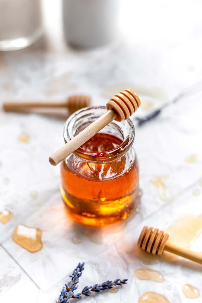 the easy vegan honey in a glass jar
