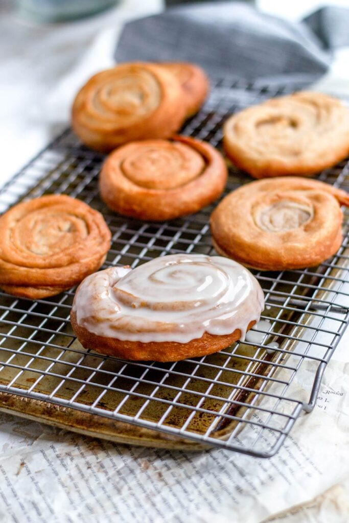 glazing the vegan honey buns