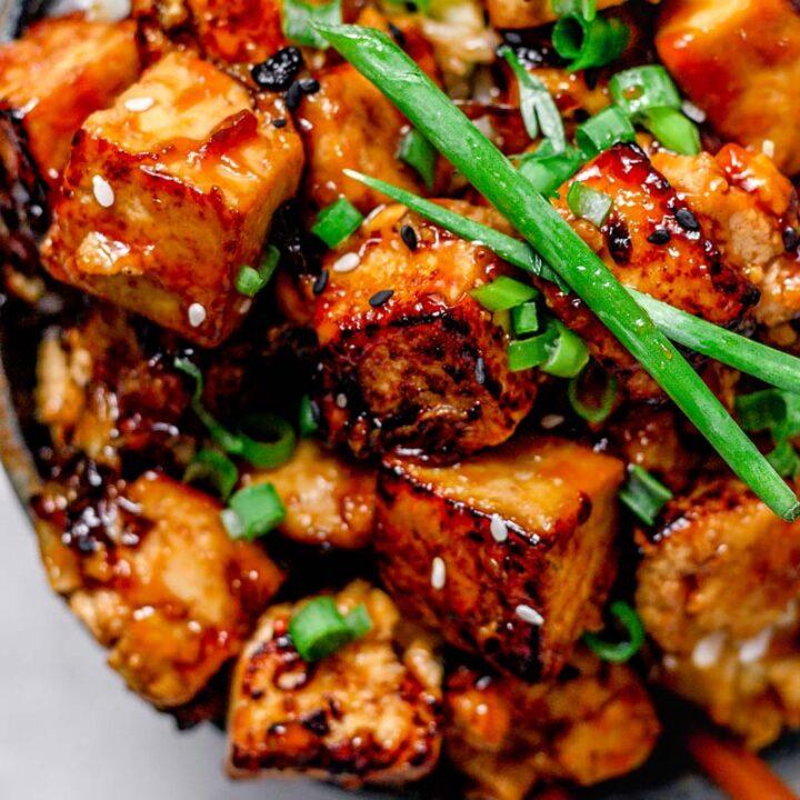 panfried garlic lime tofu