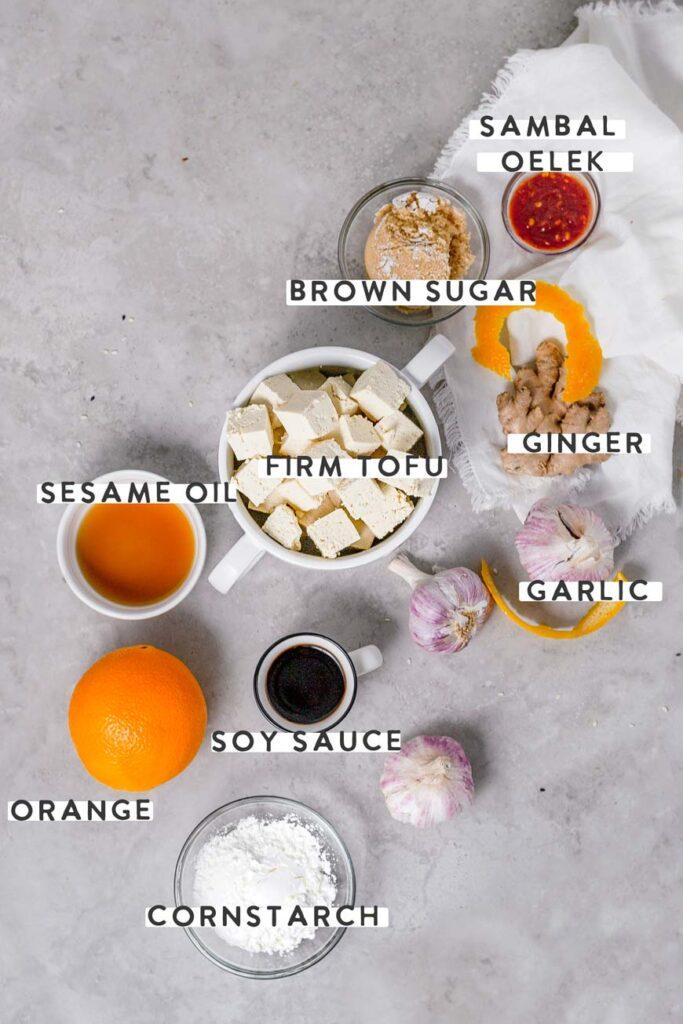 the vegan orange chicken tofu ingredients with labels