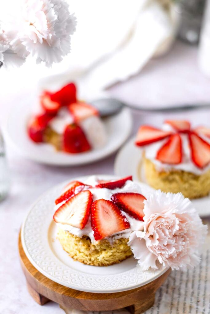 Vegan Brown Sugar Strawberry Shortcake on a plate