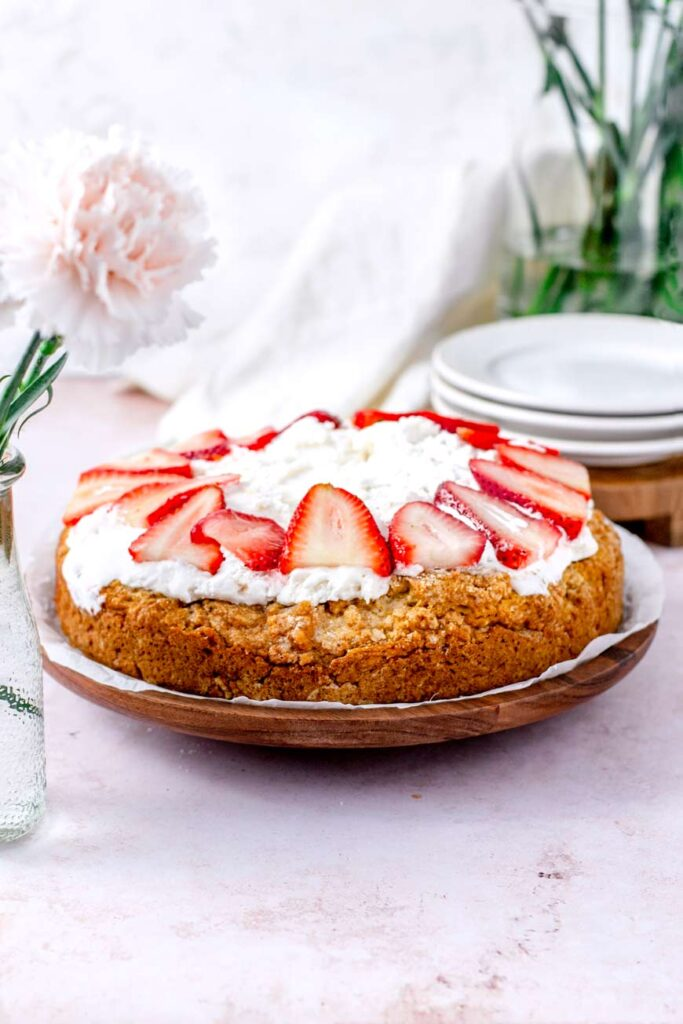 Vegan Brown Sugar Strawberry Shortcake with whipped cream on top