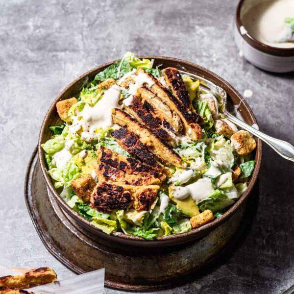 "Vegan Caesar Salad with Blackened ""Chicken"""