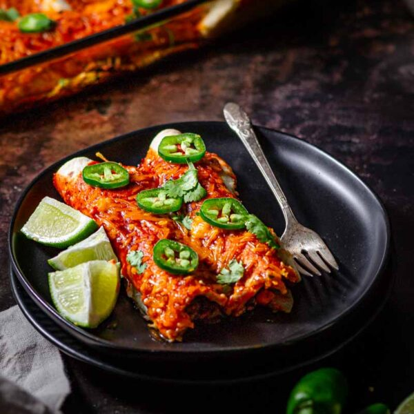 Vegan Cheese Enchiladas (Black Beans & 'Beef')