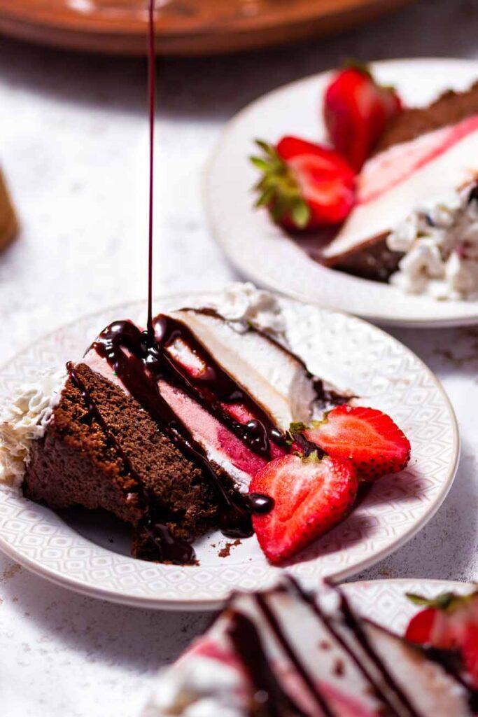 Vegan Neapolitan Ice Cream Cake with chocolate sauce