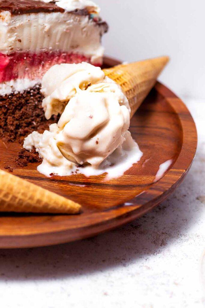 vegan vanilla ice cream cone