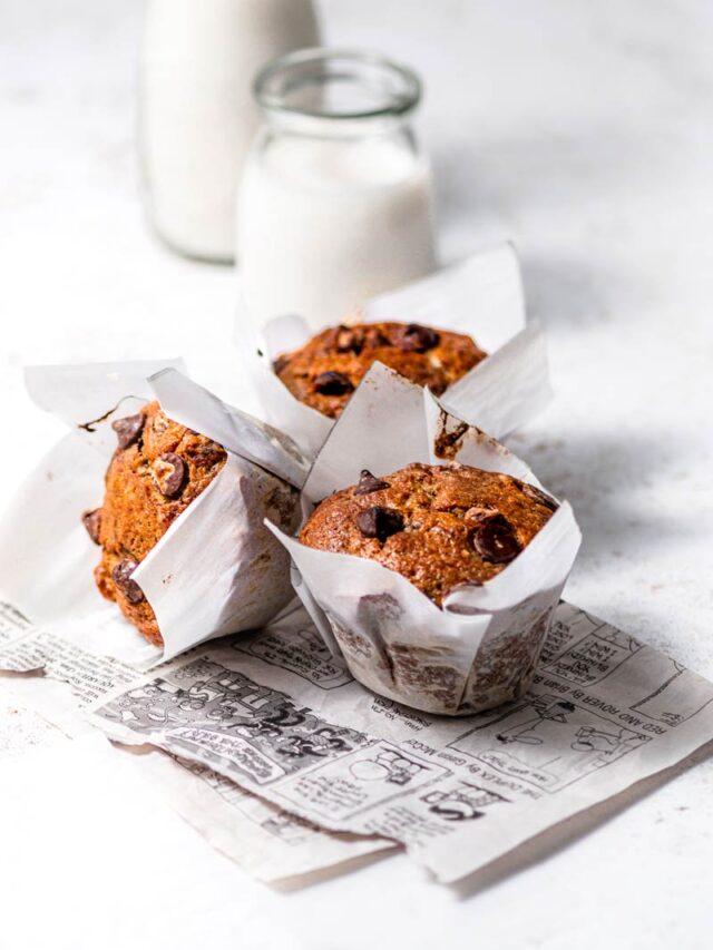 Vegan Jumbo Banana Chocolate Muffins