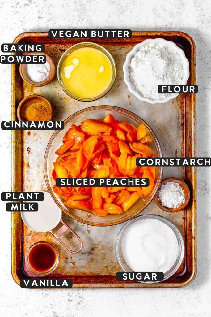 easy vegan peach cobbler ingredients