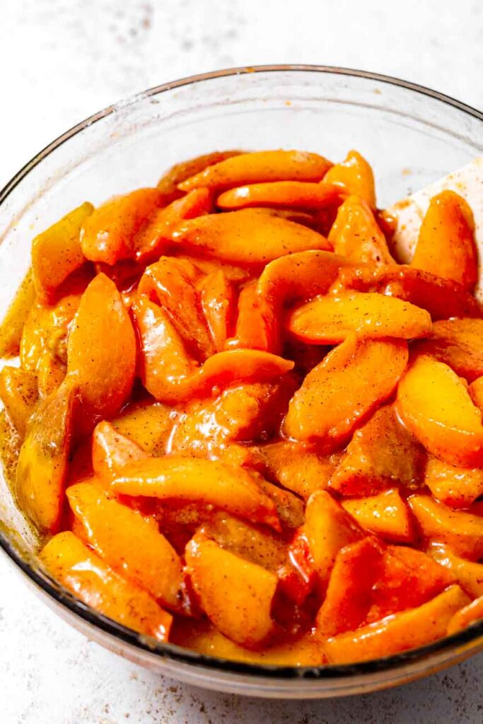 fresh peaches sliced with a syrup