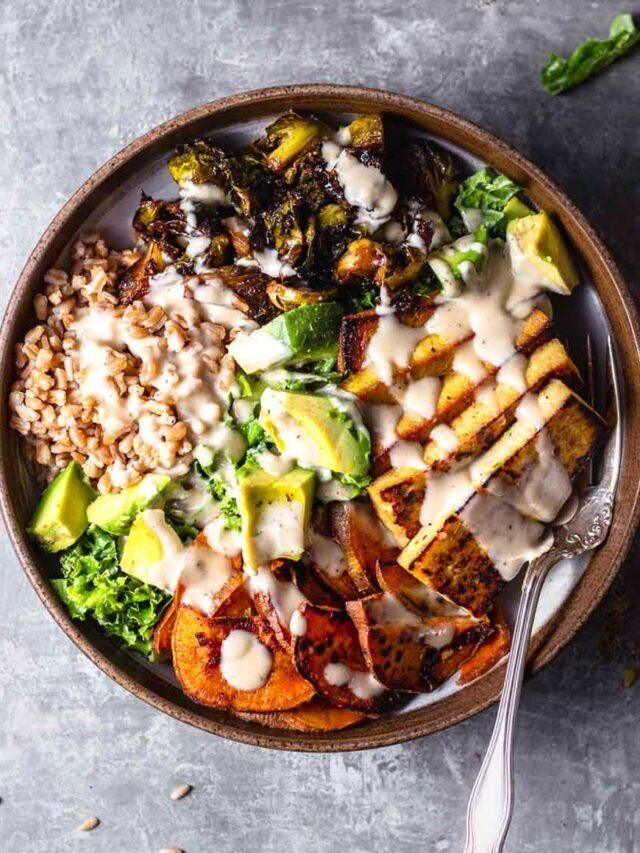 Warm Grain Bowl with Farro & Sweet Potatoes