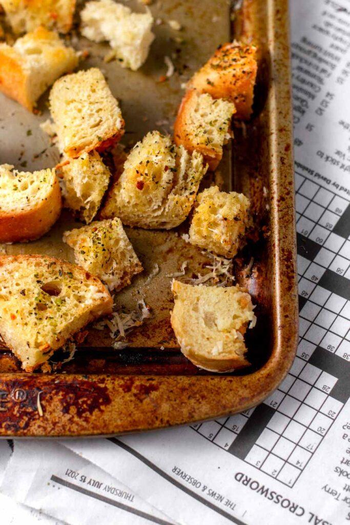 vegan homemade garlic herb croutons