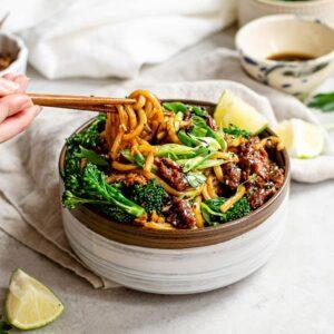 vegan sesame beef udon noodles